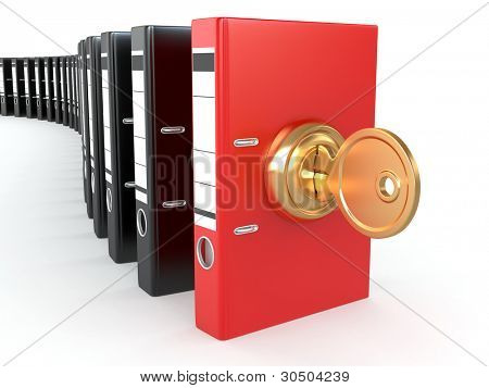 Data security. Information protection. Folders and key. 3d