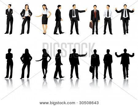 Collection of business people silhouettes in different positions - Jpeg version of vector illustration