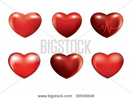 Set of six different red 3d hearts - Jpeg version of vector illustration