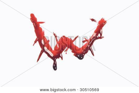 Dripping slashed blood fonts the letter lower case w