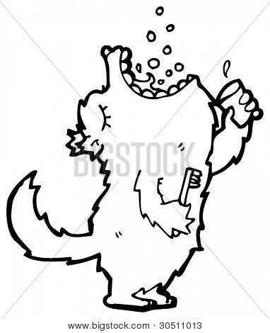 big bad wolf gargling mouthwash cartoon