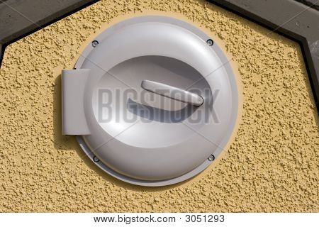 Trash Can Lid On Wall With Clipping Path