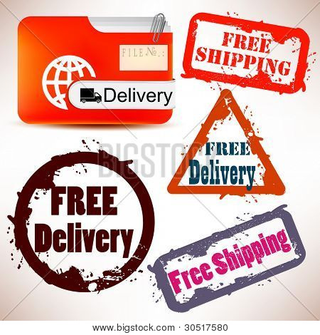 """Set of Badges, Labels, Tags """"FREE DELIVERY"""". Vector illustration. Grunge stamp with text"""