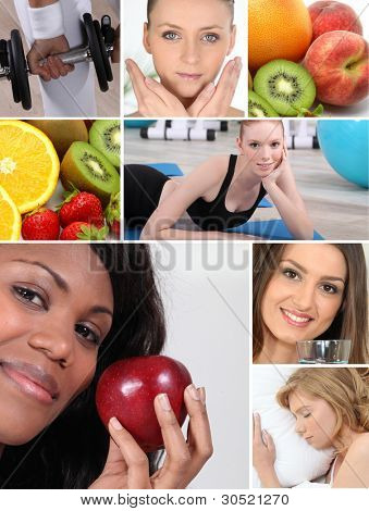 Healthy living themed montage