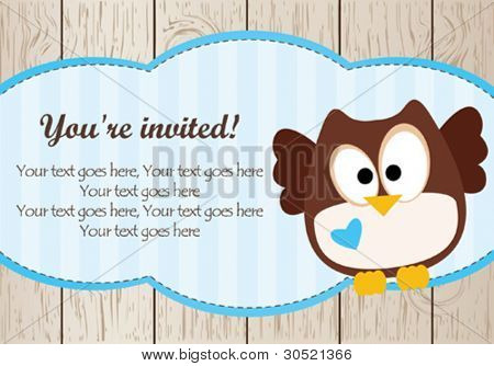 Baby boy shower owl card
