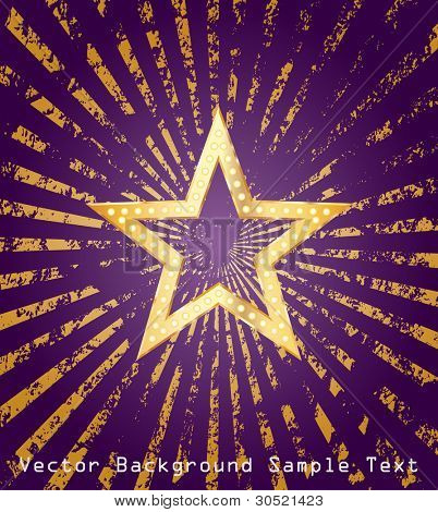 golden star on purple background with grunge golden rays