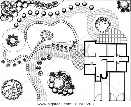 Plan of garden with symbols of tree