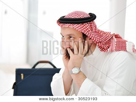 Worried arabic businessman