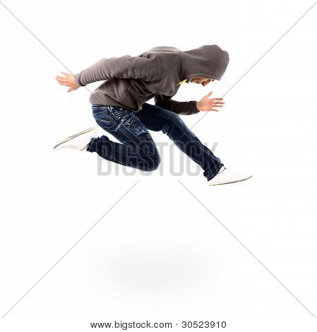 awesome dancer is jumping very high on a white background