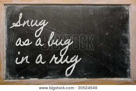 Expression -  Snug As A Bug In A Rug - Written On A School Blackboard With Chalk