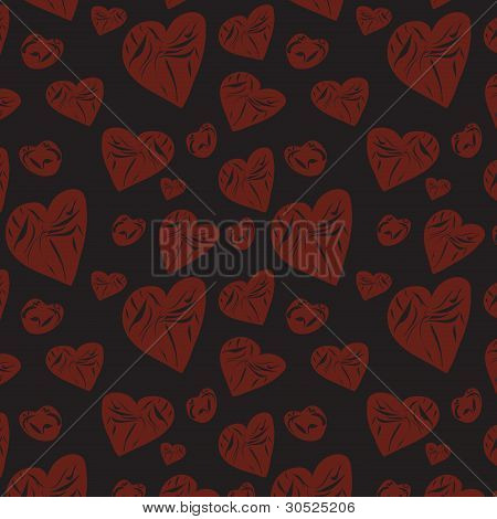 Dark Background With Abstract Hearts