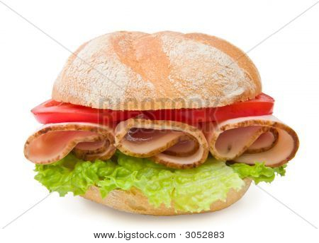 Fresh Turkey Breast Sandwich With Lettuce And Tomatoes