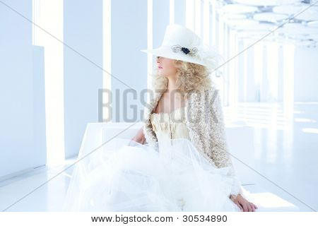 blond fashion woman with eighteenth century corset haute couture