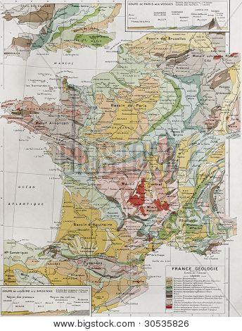 Mapa geológico de Francia. Por Paul Vidal de Lablache, Atlas Classique, Librerie Colin, París, 1894 (abetos