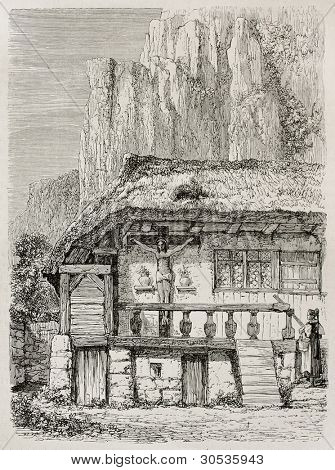 House in Hollental (Hell Valey) old view, Black Forest, Germany. Created by Stroobant, published on Le Tour Du Monde, Paris, 1867
