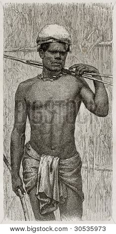 Kanak fisherman (New Caledonia native) old engraved portrait. Created by Loudet after photo by unknown author, published on Le Tour Du Monde, Paris, 1867