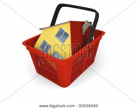 Model Of House In Shopping Basket