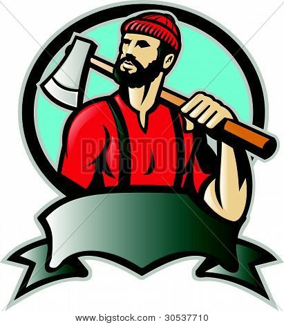 Lumberjack Forester With Axe