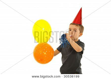 Party Child Boy With Noise Maker