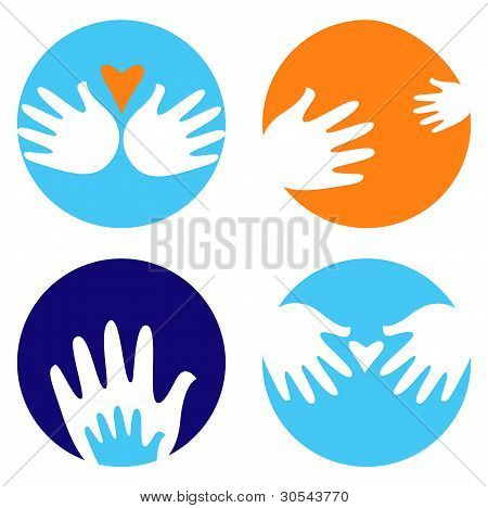 Helpful And Carrying Hands Icons Isolated On White