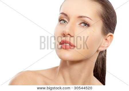 woman face with foundation