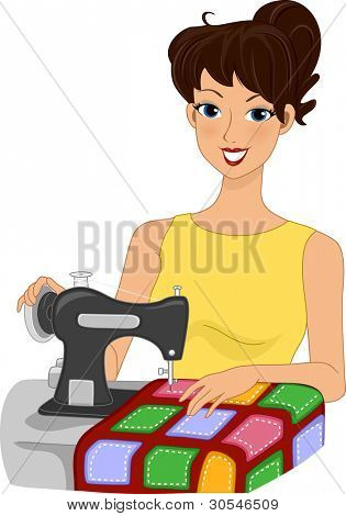 Illustration of a Girl Making a Quilt