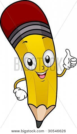 Illustration of a Pencil Mascot Giving a Thumbs Up