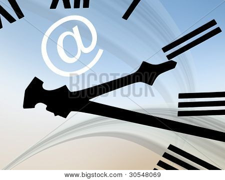 Email abstract showing clock hands and email symbol