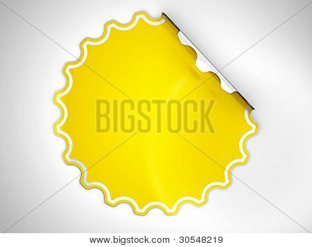 Round Yellow Hamous Sticker Or Label