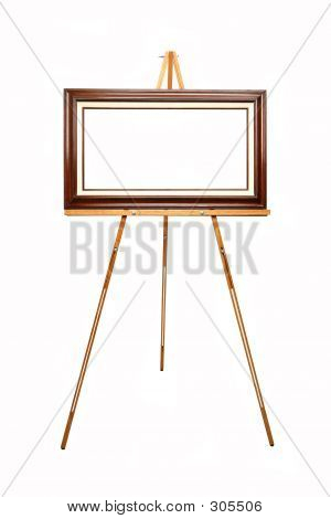 Empty Picture Frame On Wooden Easel