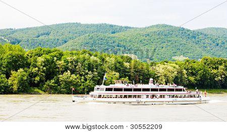 cruise ship on the Danube river, Wachau, Lower Austria, Austria
