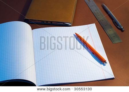 New Square Lined Exercise Book With Orange Pen