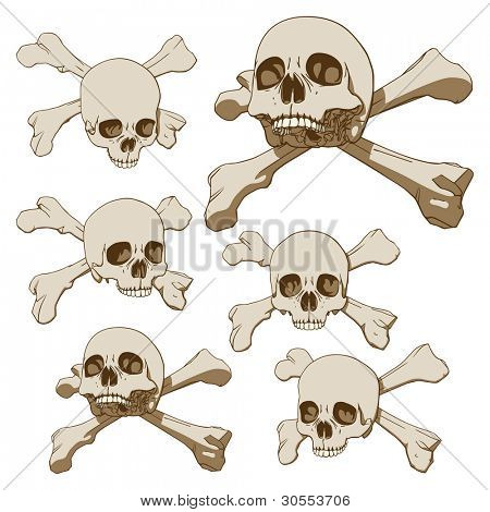 Set of five drawings of human skull with crossbones. Vector illustration