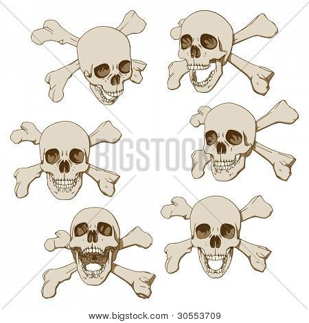 Set of six drawings of human skull with crossbones. Vector illustration