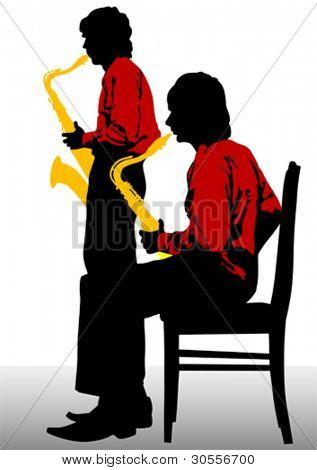 Vector drawing of a man with saxophone on stage