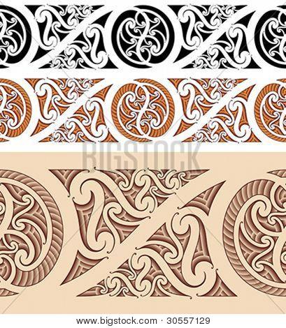 Maori styled seamless pattern. Vector illustration.