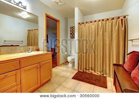 Large Bathroom Interior With Bench With Red Pillows And Shower.