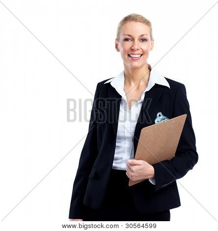 Buchhalter Business-Frau. isolated over white Background.