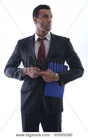 Portrait of happy smiling young arab business man isolated on white background