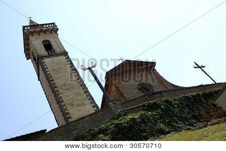VINCI, ITALY - APRIL 18 - 2009. TOWER AND CHURCH AT THE LEONARDO DA VINCI MUSEUM.