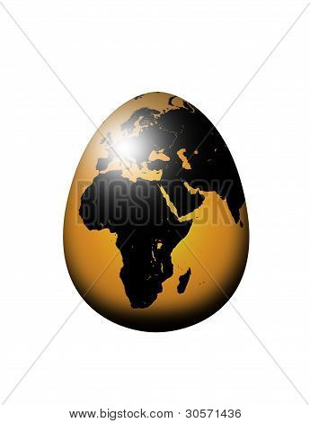 World Map Egg Isolated Over White