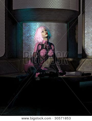 Science Fiction Catsuit Girl in a Dark Room