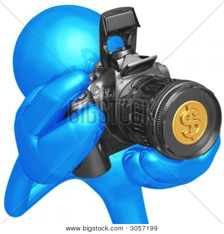 Camera With Dollar Lens Microstock Photography Concept