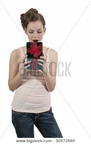 A Beautiful Woman Opening A Present