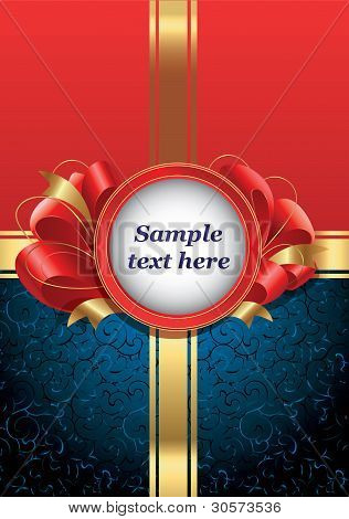Invitation card with red ribbons