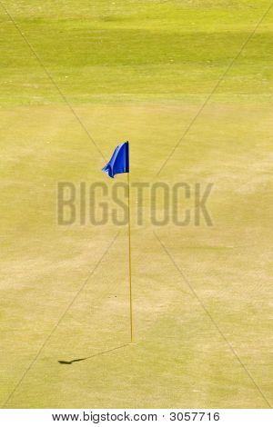 Blue Flag On Eighteenth Green