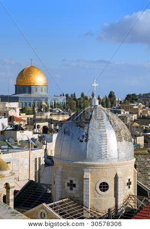 Dome of the Rock and Christian Basilica in the Old City of Jerusalem, Israel.