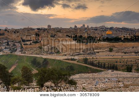Skyline of Jerusalem, Israel at the Old City viewed from Mount of Olives.