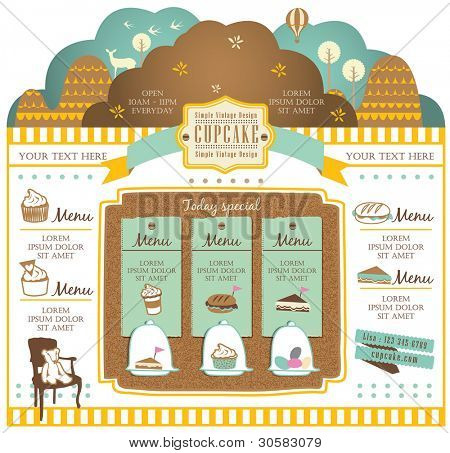 Retro style cafe elements