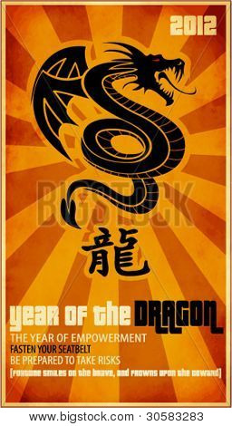 2012, Year of the Dragon - Chinese zodiac sign with a dragon coiled up and Chinese character for the dragon, against a grungy starbust background